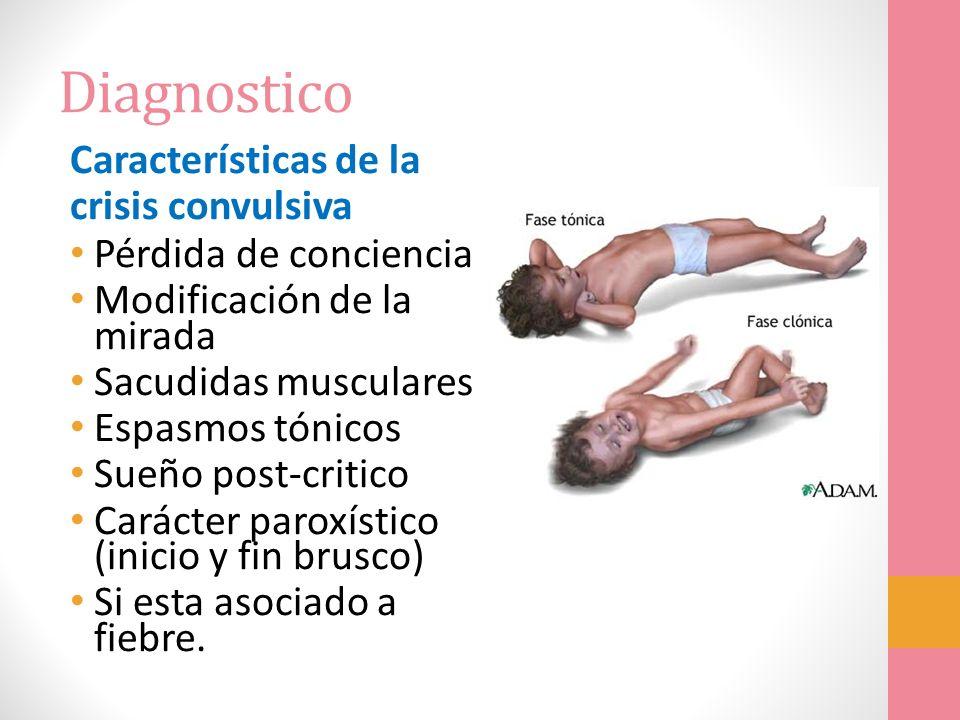 Diagnostico Características de la crisis convulsiva Pérdida de conciencia Modificación de la mirada Sacudidas musculares Espasmos tónicos Sueño post-c