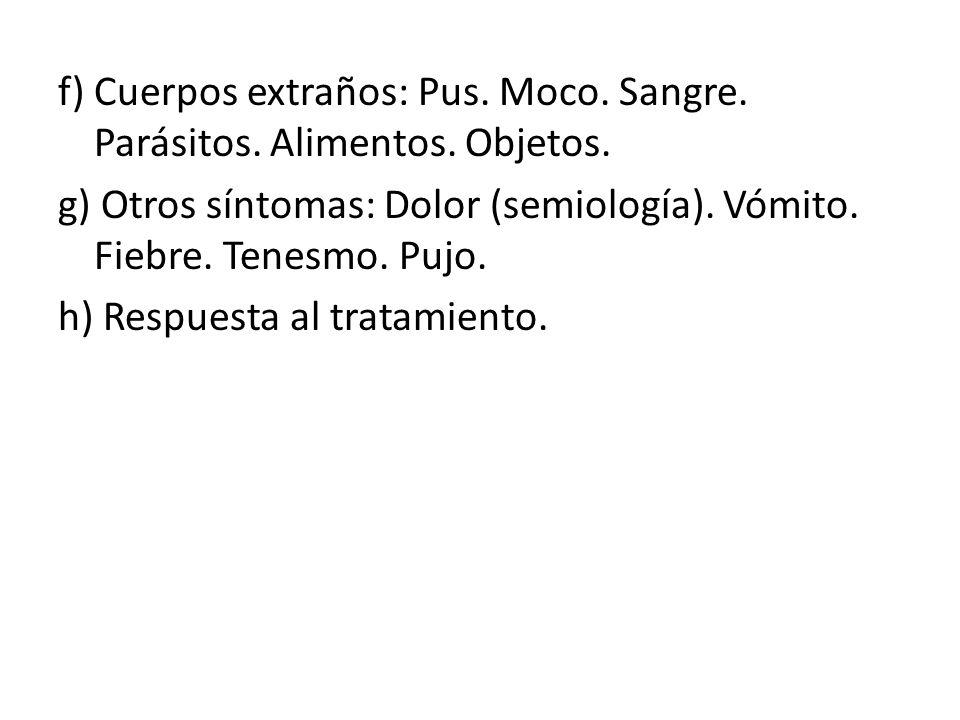 f) Cuerpos extraños: Pus. Moco. Sangre. Parásitos. Alimentos. Objetos. g) Otros síntomas: Dolor (semiología). Vómito. Fiebre. Tenesmo. Pujo. h) Respue