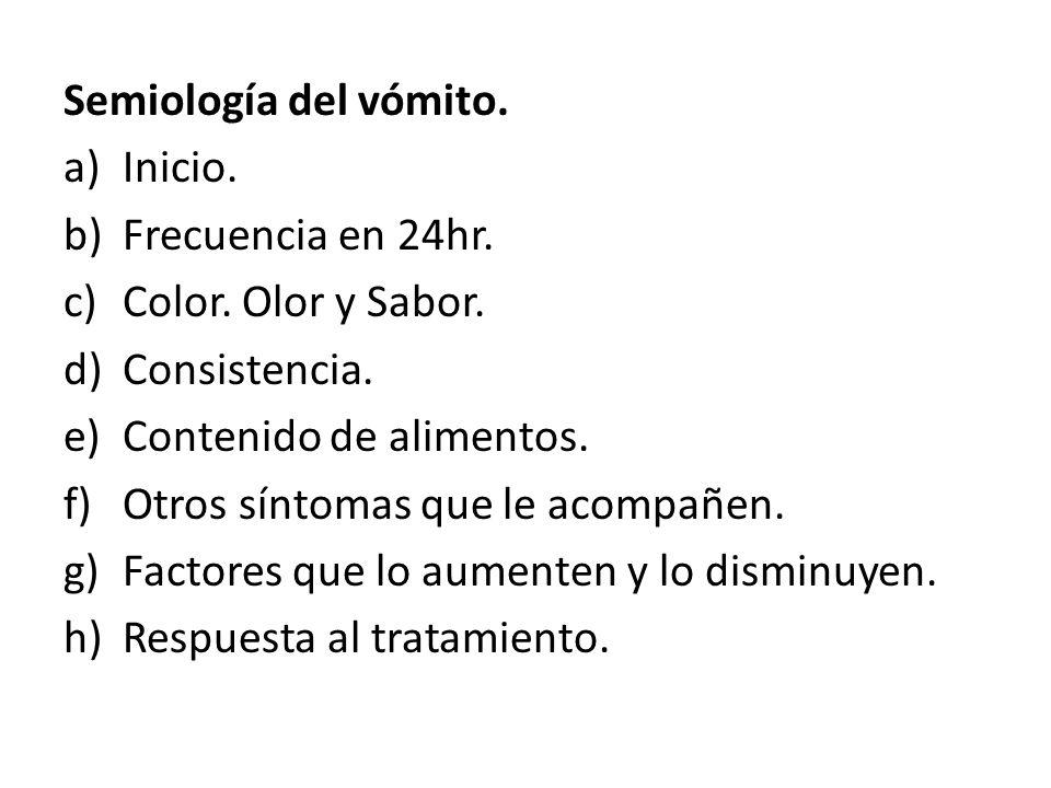 Semiología del vómito. a)Inicio. b)Frecuencia en 24hr. c)Color. Olor y Sabor. d)Consistencia. e)Contenido de alimentos. f)Otros síntomas que le acompa