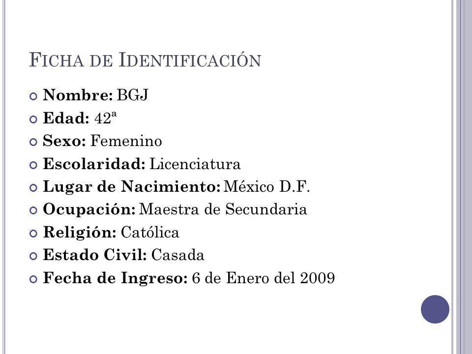 F ICHA DE I DENTIFICACIÓN Nombre: BGJ Edad: 42ª Sexo: Femenino Escolaridad: Licenciatura Lugar de Nacimiento: México D.F.