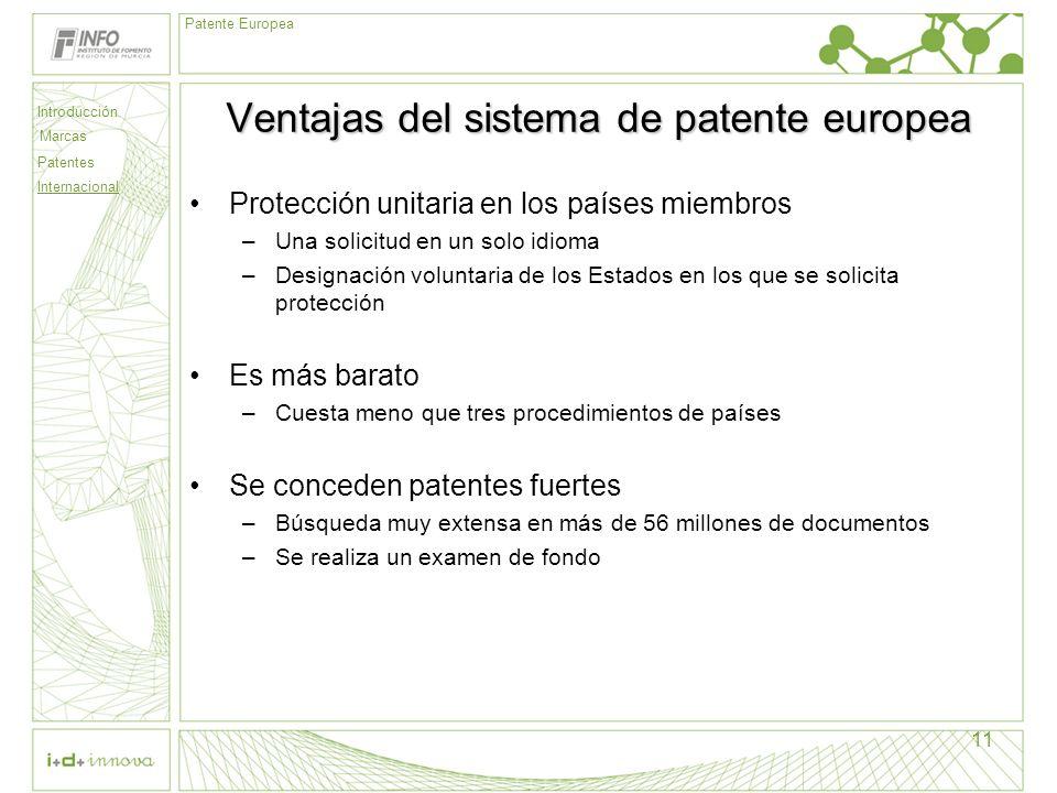 Introducción Marcas Patentes Internacional Patente Europea 11 Ventajas del sistema de patente europea Protección unitaria en los países miembros –Una