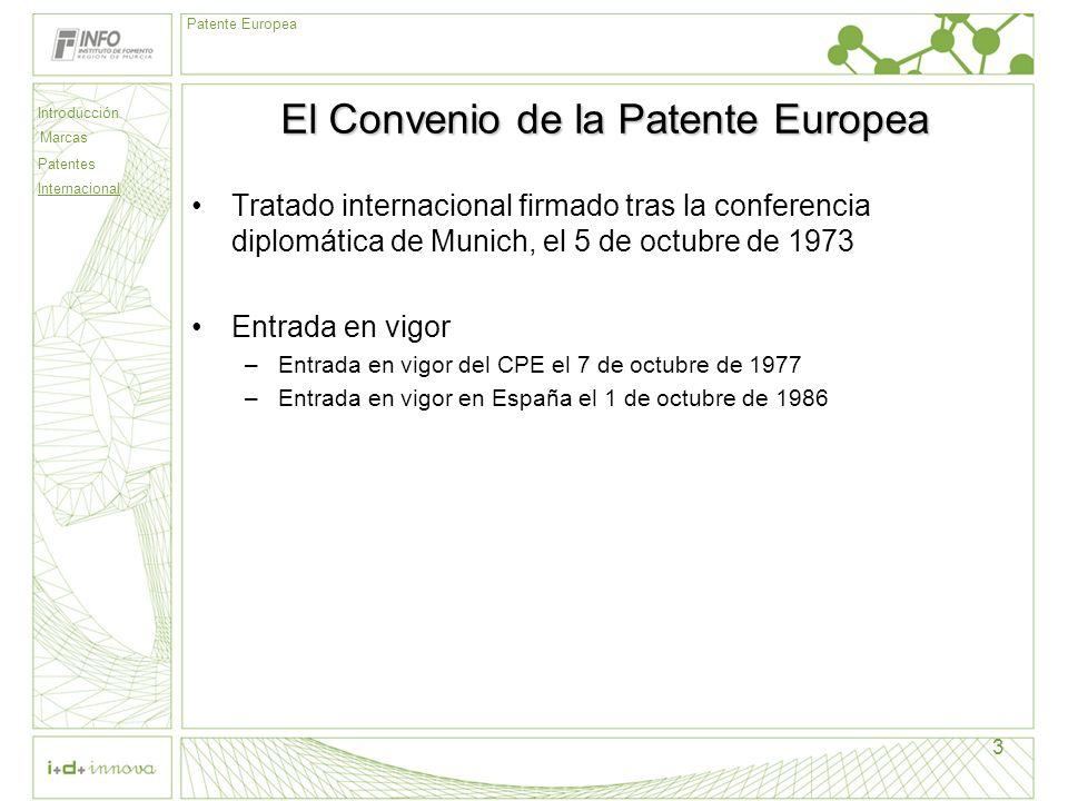 Introducción Marcas Patentes Internacional Patente Europea 3 El Convenio de la Patente Europea Tratado internacional firmado tras la conferencia diplo