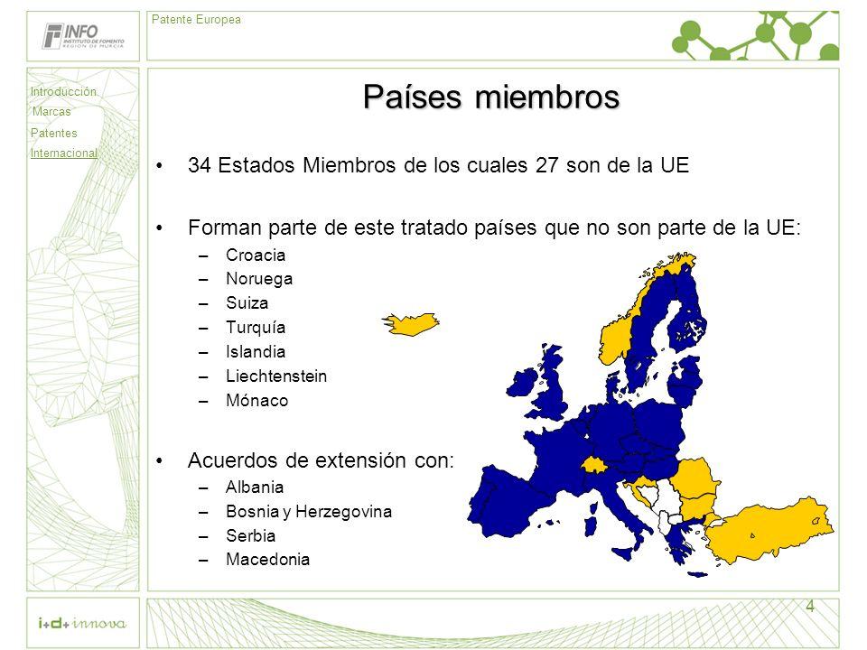 Introducción Marcas Patentes Internacional Patente Europea 4 Países miembros 34 Estados Miembros de los cuales 27 son de la UE Forman parte de este tr