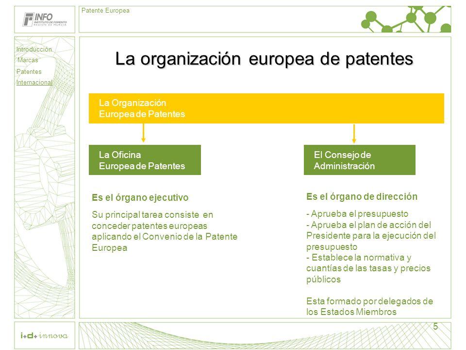 Introducción Marcas Patentes Internacional Patente Europea 5 La organización europea de patentes La Organización Europea de Patentes La Oficina Europe