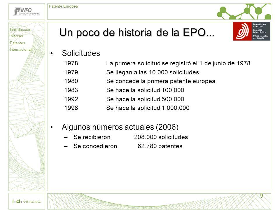 Introducción Marcas Patentes Internacional Patente Europea 9 Un poco de historia de la EPO... Solicitudes 1978La primera solicitud se registró el 1 de