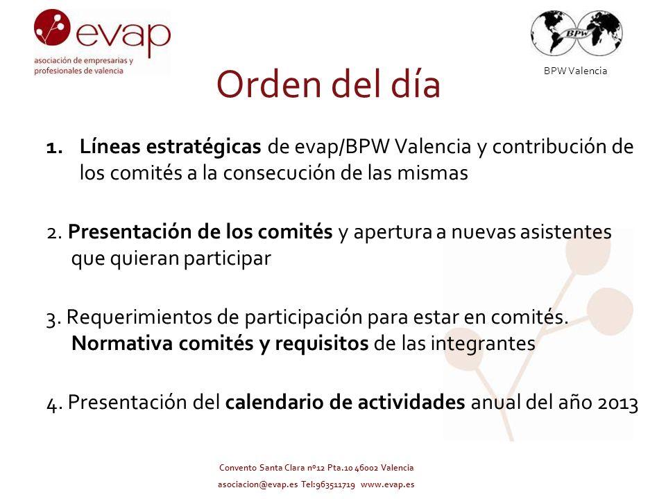 BPW Valencia Convento Santa Clara nº12 Pta.10 46002 Valencia asociacion@evap.es Tel:963511719 www.evap.es Orden del día 1.Líneas estratégicas de evap/