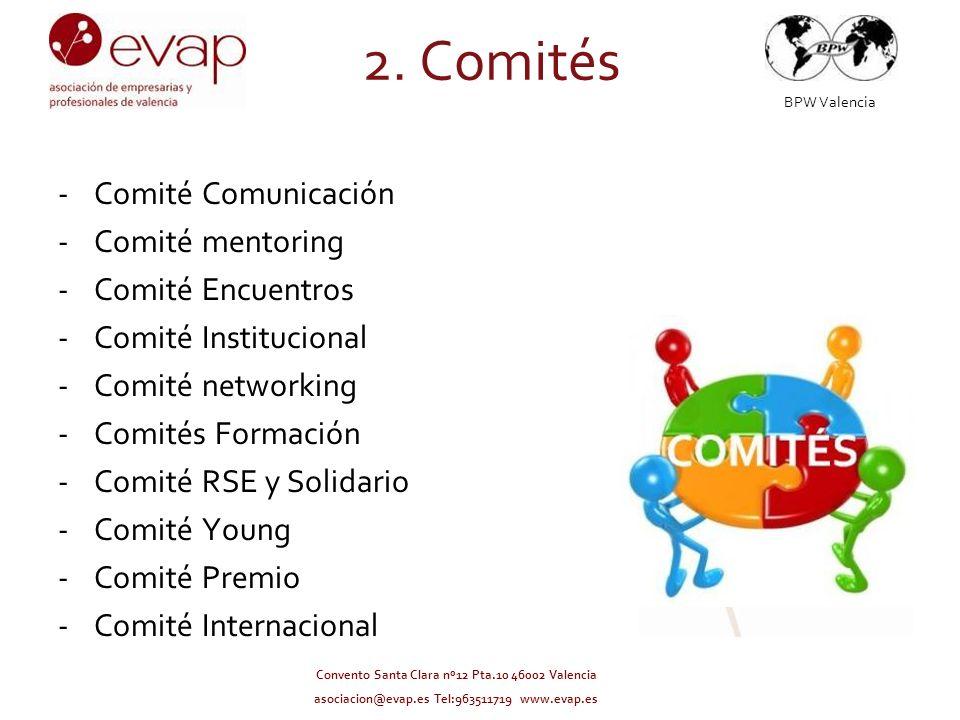 BPW Valencia Convento Santa Clara nº12 Pta.10 46002 Valencia asociacion@evap.es Tel:963511719 www.evap.es -Comité Comunicación -Comité mentoring -Comi