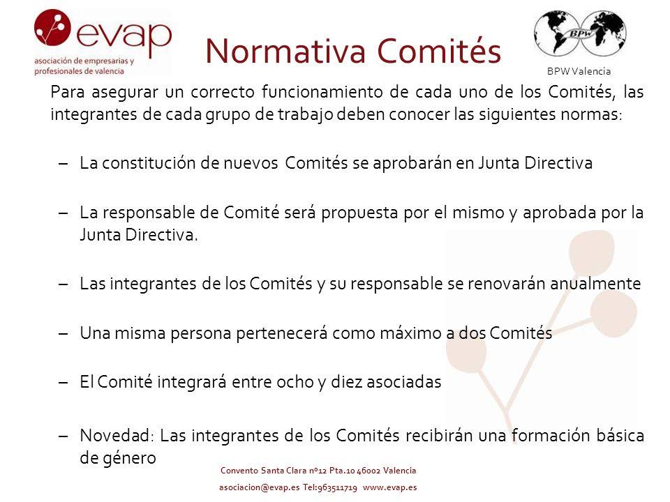 BPW Valencia Convento Santa Clara nº12 Pta.10 46002 Valencia asociacion@evap.es Tel:963511719 www.evap.es Normativa Comités Para asegurar un correcto