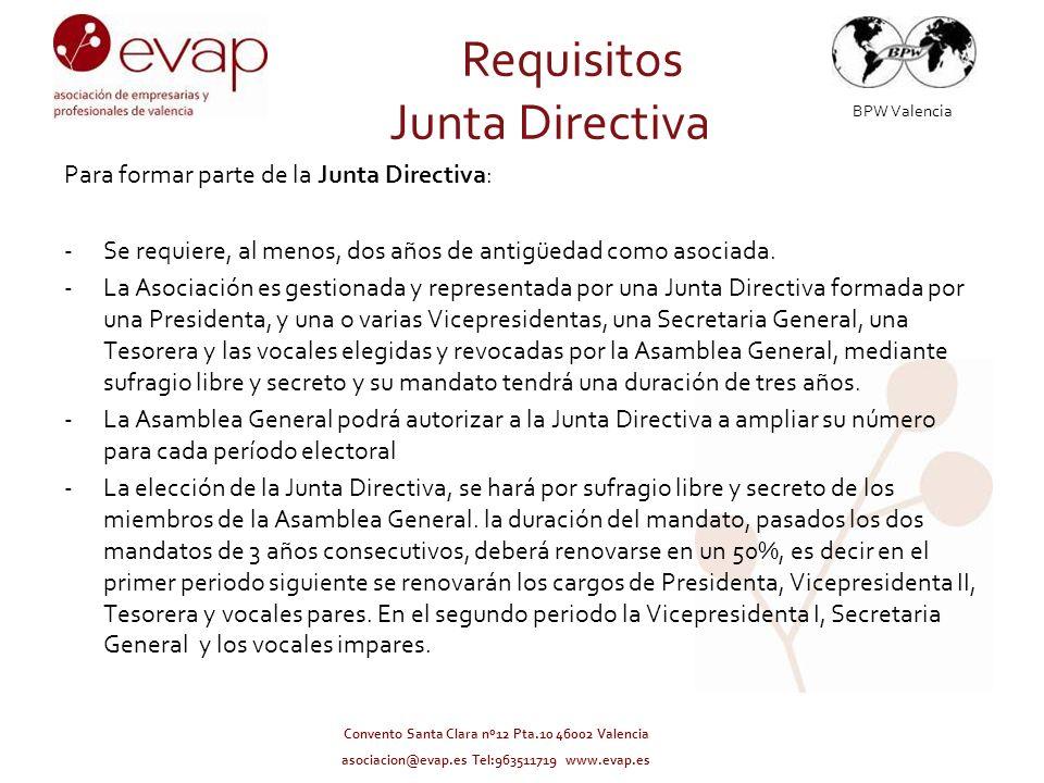 BPW Valencia Convento Santa Clara nº12 Pta.10 46002 Valencia asociacion@evap.es Tel:963511719 www.evap.es –Los cargos de Presidenta, Tesorera y Secretaria General deben recaer en personas diferentes.