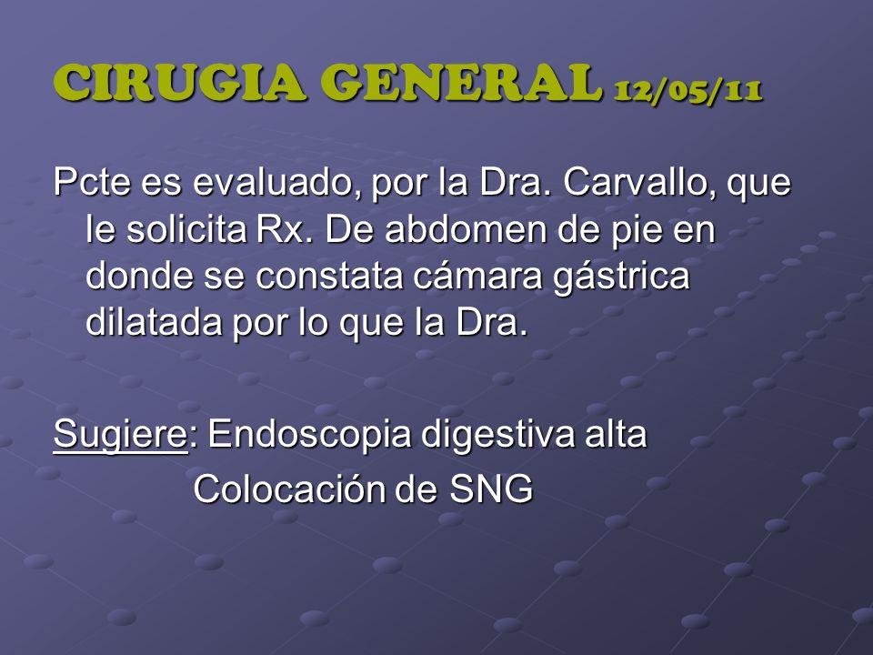CIRUGIA GENERAL 12/05/11 Pcte es evaluado, por la Dra. Carvallo, que le solicita Rx. De abdomen de pie en donde se constata cámara gástrica dilatada p