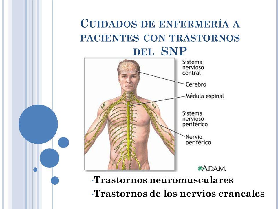 C UIDADOS DE ENFERMERÍA A PACIENTES CON TRASTORNOS DEL SNP Trastornos neuromusculares Trastornos de los nervios craneales