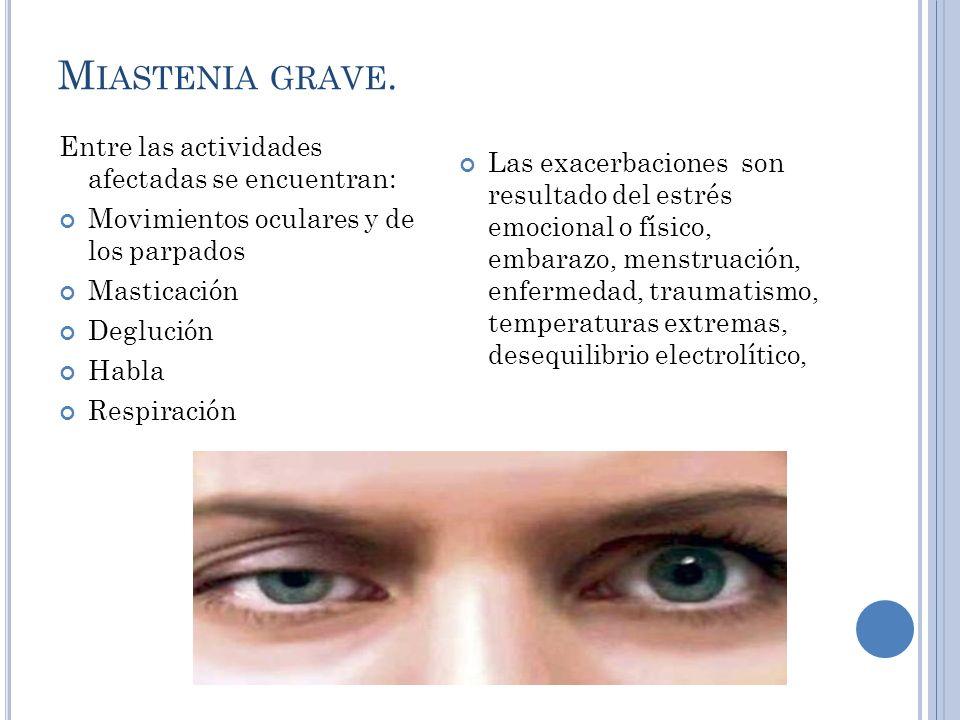 M IASTENIA GRAVE Intervenciones terapéuticas: Control de los síntomas Extirpación del timo Fármacos anticolinesterasa (neostigmina, piridostigmina) Inmunosupresores.