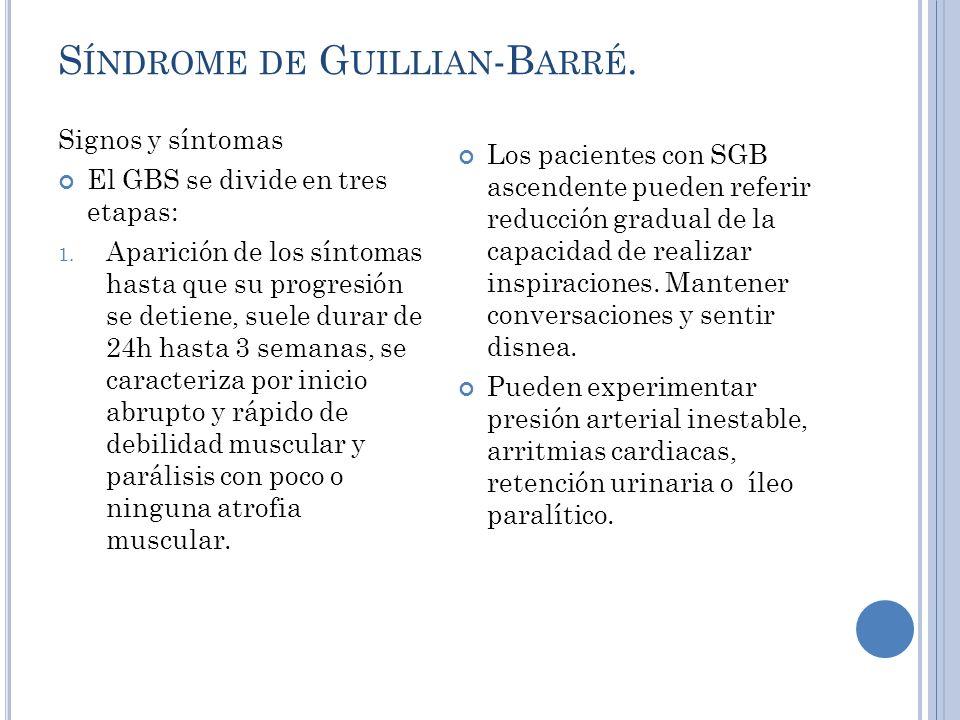 S ÍNDROME DE G UILLIAN -B ARRÉ.Signos y síntomas El GBS se divide en tres etapas: 1.
