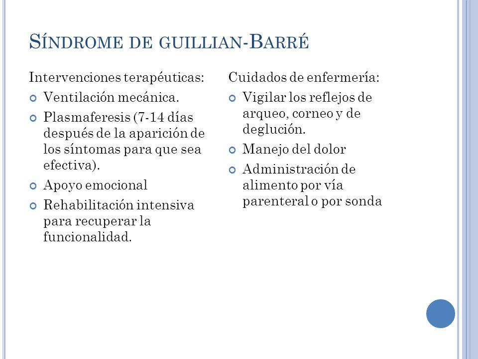 S ÍNDROME DE GUILLIAN -B ARRÉ Intervenciones terapéuticas: Ventilación mecánica.