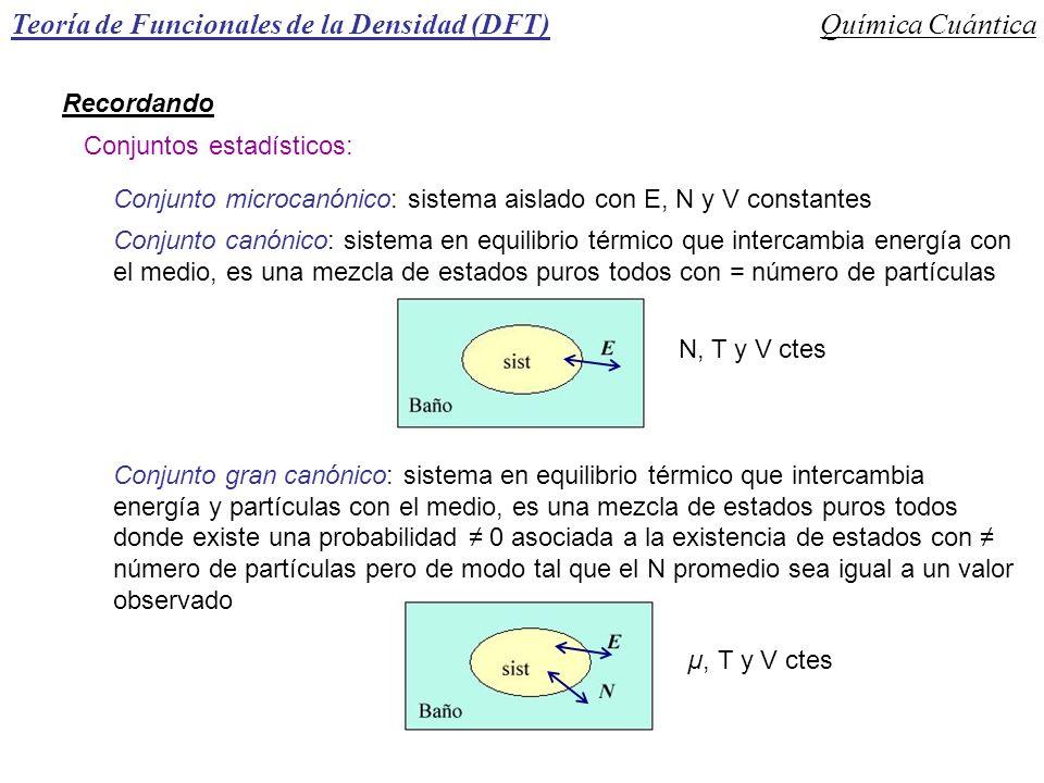 Teoría de Funcionales de la Densidad (DFT)Química Cuántica Recordando Conjuntos estadísticos: Conjunto microcanónico: sistema aislado con E, N y V con