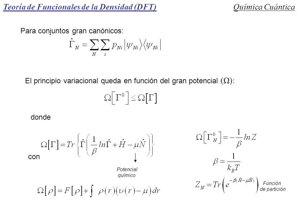 Teoría de Funcionales de la Densidad (DFT)Química Cuántica Para conjuntos gran canónicos: El principio variacional queda en función del gran potencial