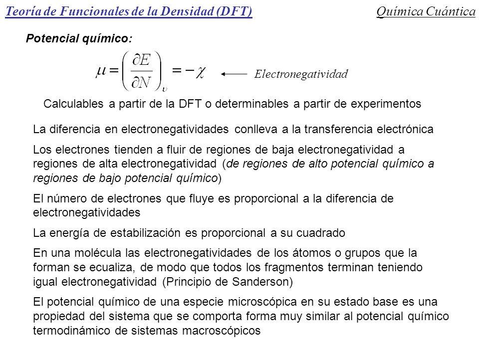 Teoría de Funcionales de la Densidad (DFT)Química Cuántica Potencial químico: Electronegatividad Calculables a partir de la DFT o determinables a part