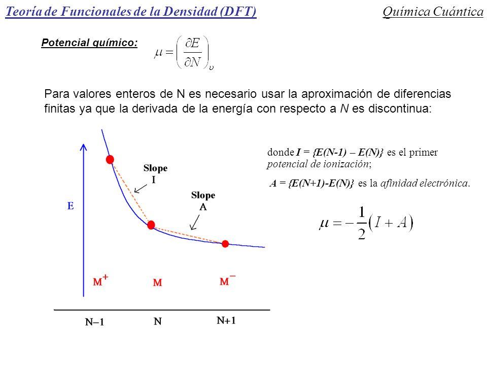 Teoría de Funcionales de la Densidad (DFT)Química Cuántica Potencial químico: Para valores enteros de N es necesario usar la aproximación de diferenci