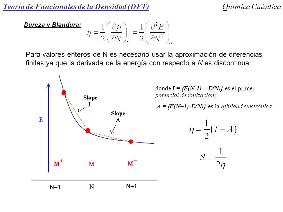 Teoría de Funcionales de la Densidad (DFT)Química Cuántica Dureza y Blandura: Para valores enteros de N es necesario usar la aproximación de diferenci