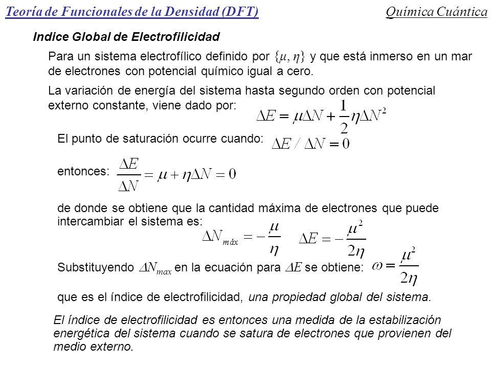 Teoría de Funcionales de la Densidad (DFT)Química Cuántica Indice Global de Electrofilicidad Para un sistema electrofílico definido por {μ, η} y que e