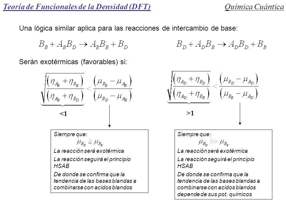 Teoría de Funcionales de la Densidad (DFT)Química Cuántica Una lógica similar aplica para las reacciones de intercambio de base: Serán exotérmicas (fa