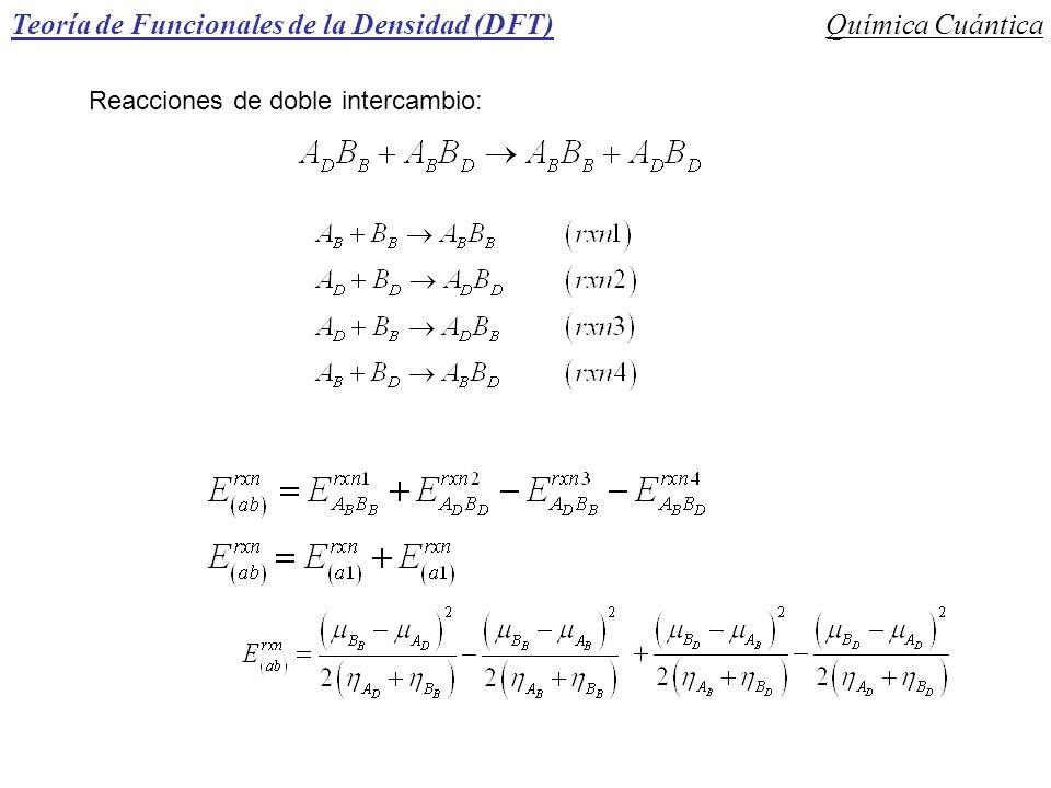 Teoría de Funcionales de la Densidad (DFT)Química Cuántica Reacciones de doble intercambio: