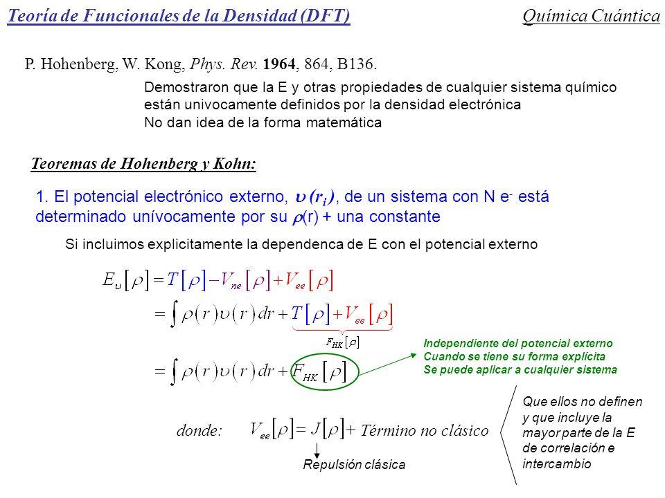 P. Hohenberg, W. Kong, Phys. Rev. 1964, 864, B136. Demostraron que la E y otras propiedades de cualquier sistema químico están univocamente definidos