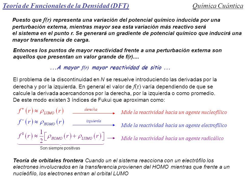 Teoría de Funcionales de la Densidad (DFT)Química Cuántica El problema de la discontinuidad en N se resuelve introduciendo las derivadas por la derech