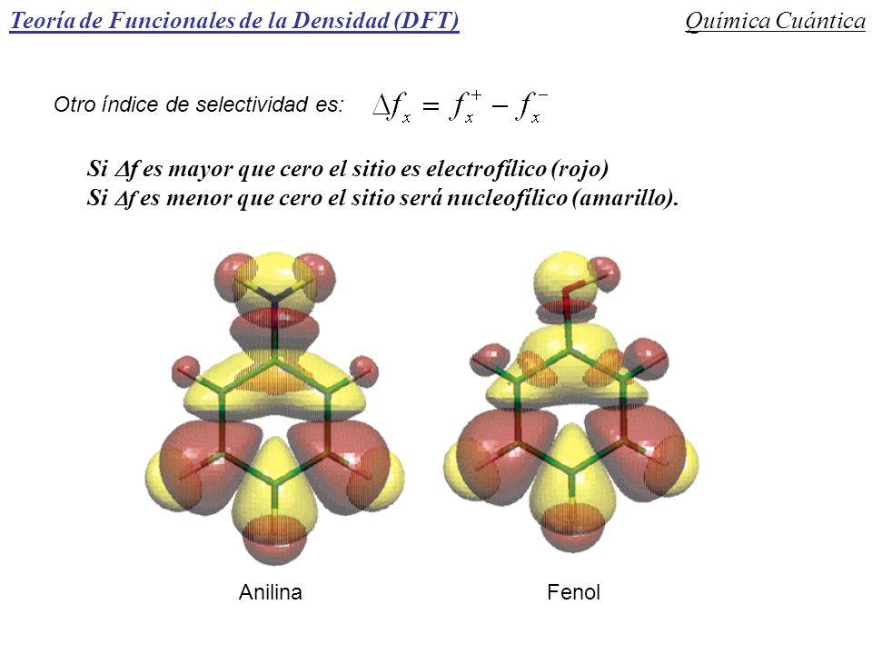 Teoría de Funcionales de la Densidad (DFT)Química Cuántica Otro índice de selectividad es: Si f es mayor que cero el sitio es electrofílico (rojo) Si