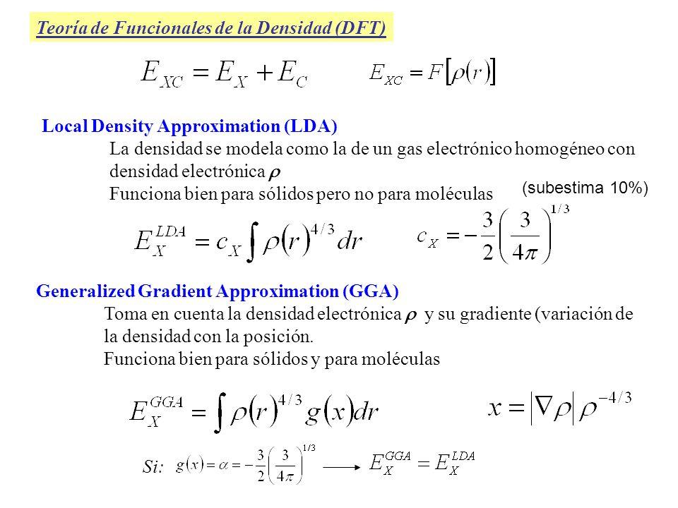 Teoría de Funcionales de la Densidad (DFT) Generalized Gradient Approximation (GGA) Toma en cuenta la densidad electrónica y su gradiente (variación d