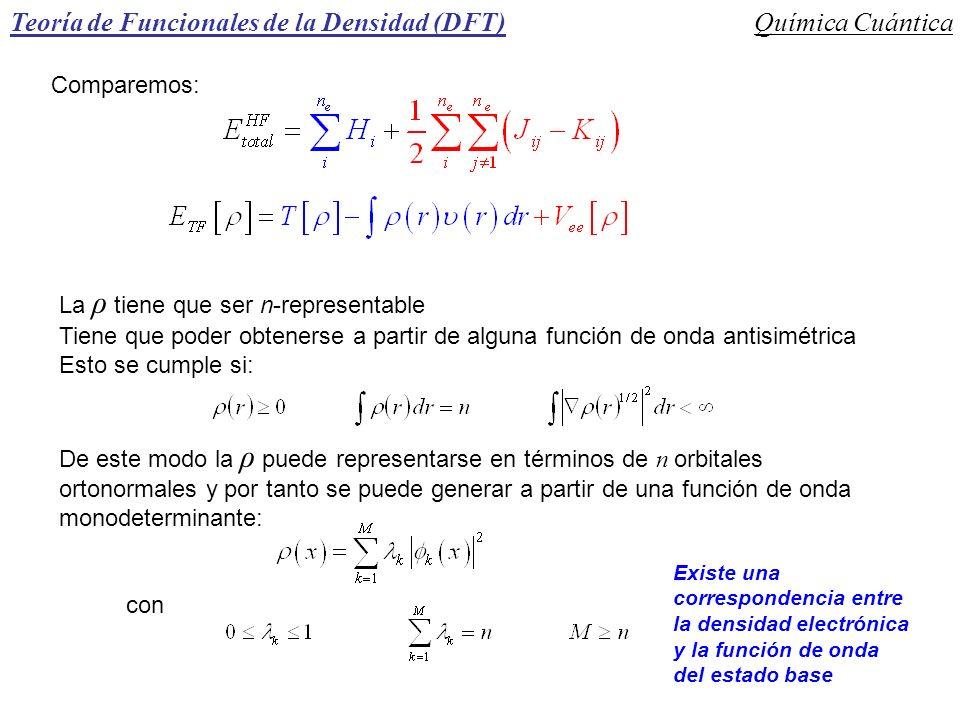 Teoría de Funcionales de la Densidad (DFT)Química Cuántica Comparemos: La ρ tiene que ser n-representable Tiene que poder obtenerse a partir de alguna