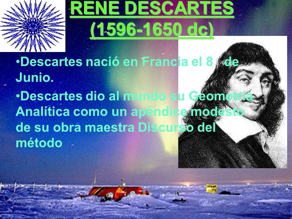 RENE DESCARTES (1596-1650 dc) Descartes nació en Francia el 8 de Junio. Descartes dio al mundo su Geometría Analítica como un apéndice modesto de su o