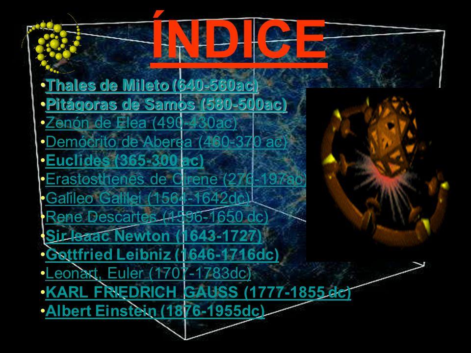 ÍNDICE Thales de Mileto (640-560ac)Thales de Mileto (640-560ac)Thales de Mileto (640-560ac)Thales de Mileto (640-560ac) Pitágoras de Samos (580-500ac)