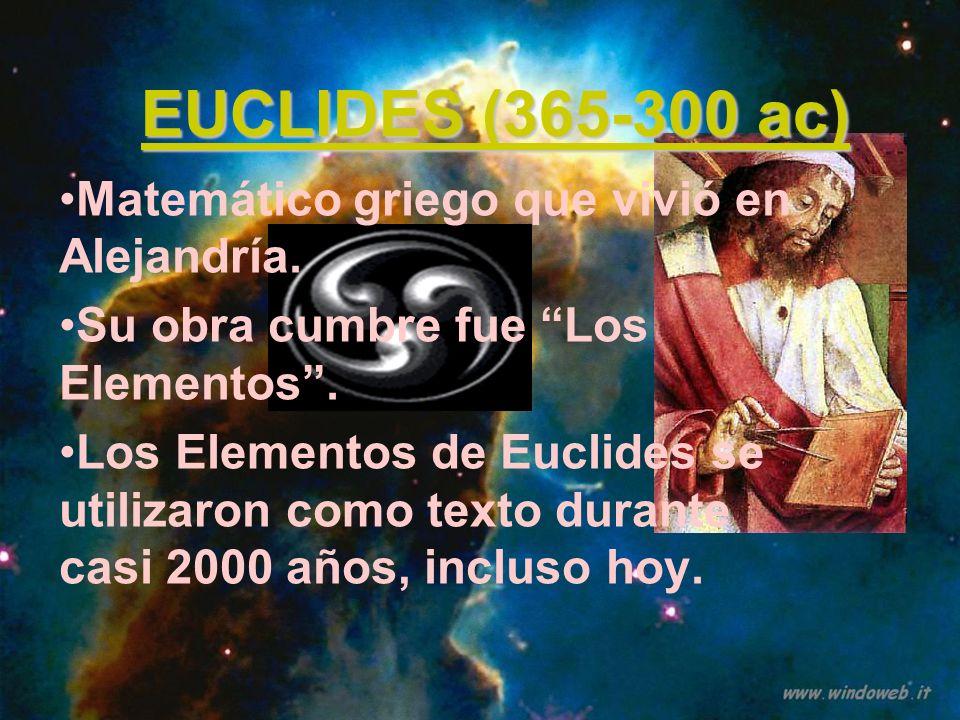 EUCLIDES (365-300 ac) Matemático griego que vivió en Alejandría. Su obra cumbre fue Los Elementos. Los Elementos de Euclides se utilizaron como texto