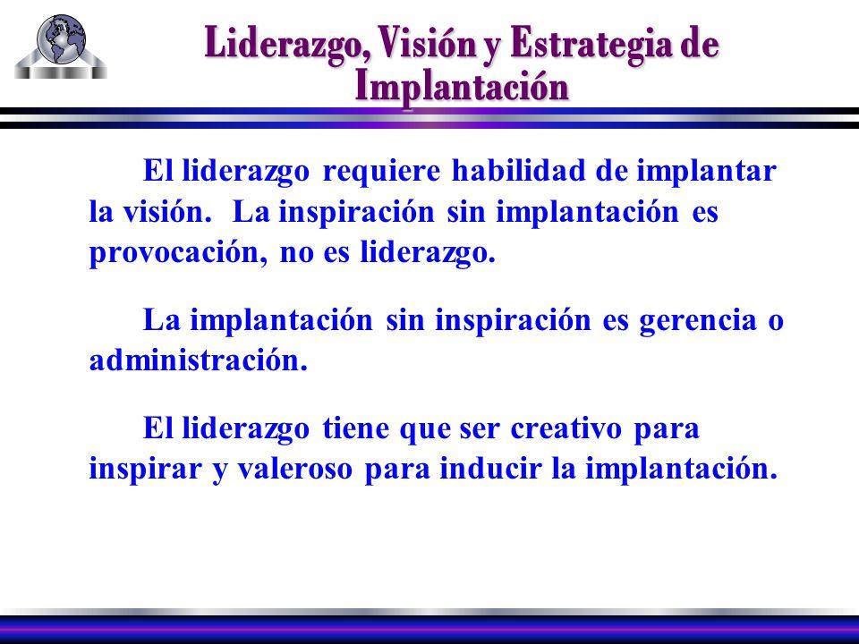 Liderazgo, Visión y Estrategia de Implantación El liderazgo requiere habilidad de implantar la visión.