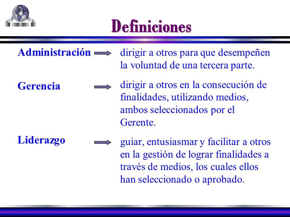 Definiciones Administración Gerencia Liderazgo dirigir a otros para que desempeñen la voluntad de una tercera parte.