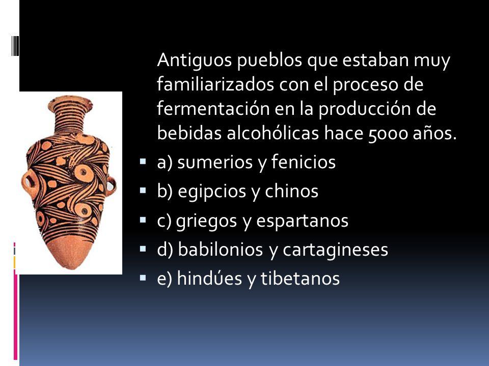 Antiguos pueblos que estaban muy familiarizados con el proceso de fermentación en la producción de bebidas alcohólicas hace 5000 años. a) sumerios y f