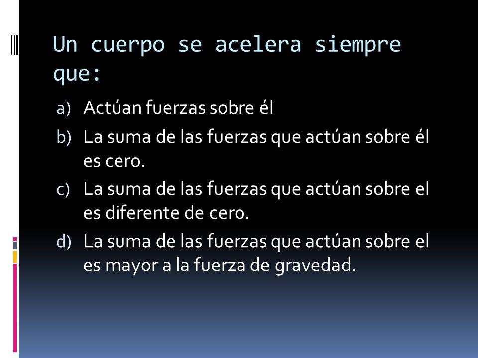 Un cuerpo se acelera siempre que: a) Actúan fuerzas sobre él b) La suma de las fuerzas que actúan sobre él es cero. c) La suma de las fuerzas que actú