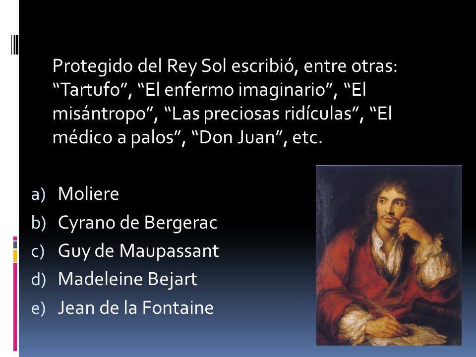 Protegido del Rey Sol escribió, entre otras: Tartufo, El enfermo imaginario, El misántropo, Las preciosas ridículas, El médico a palos, Don Juan, etc.