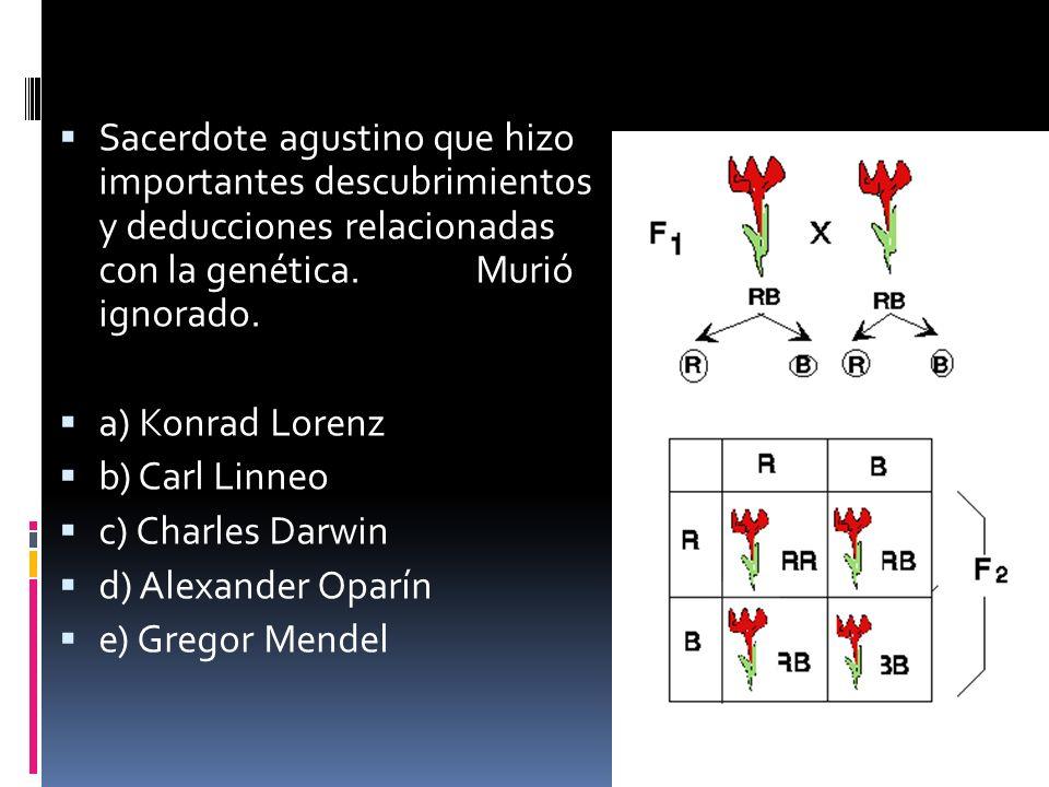 Sacerdote agustino que hizo importantes descubrimientos y deducciones relacionadas con la genética. Murió ignorado. a) Konrad Lorenz b) Carl Linneo c)