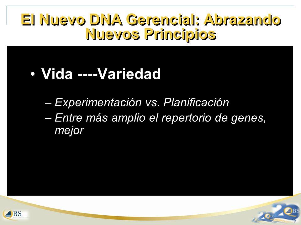 El Nuevo DNA Gerencial: Abrazando Nuevos Principios Vida ----Variedad –Experimentación vs.