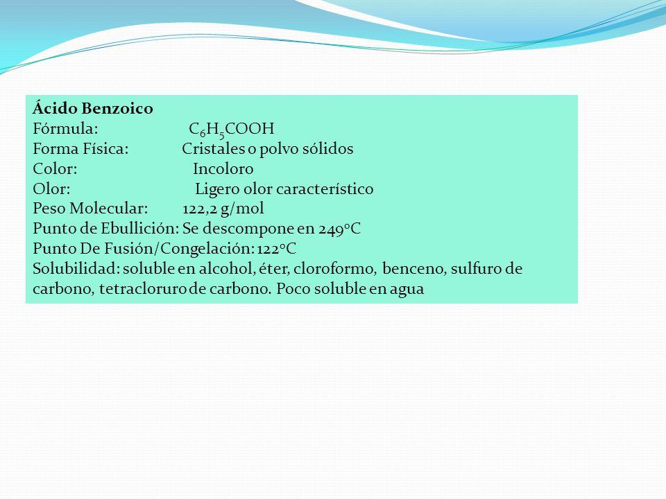 Ácido Benzoico Fórmula: C 6 H 5 COOH Forma Física: Cristales o polvo sólidos Color: Incoloro Olor: Ligero olor característico Peso Molecular: 122,2 g/mol Punto de Ebullición: Se descompone en 249 o C Punto De Fusión/Congelación: 122 o C Solubilidad: soluble en alcohol, éter, cloroformo, benceno, sulfuro de carbono, tetracloruro de carbono.