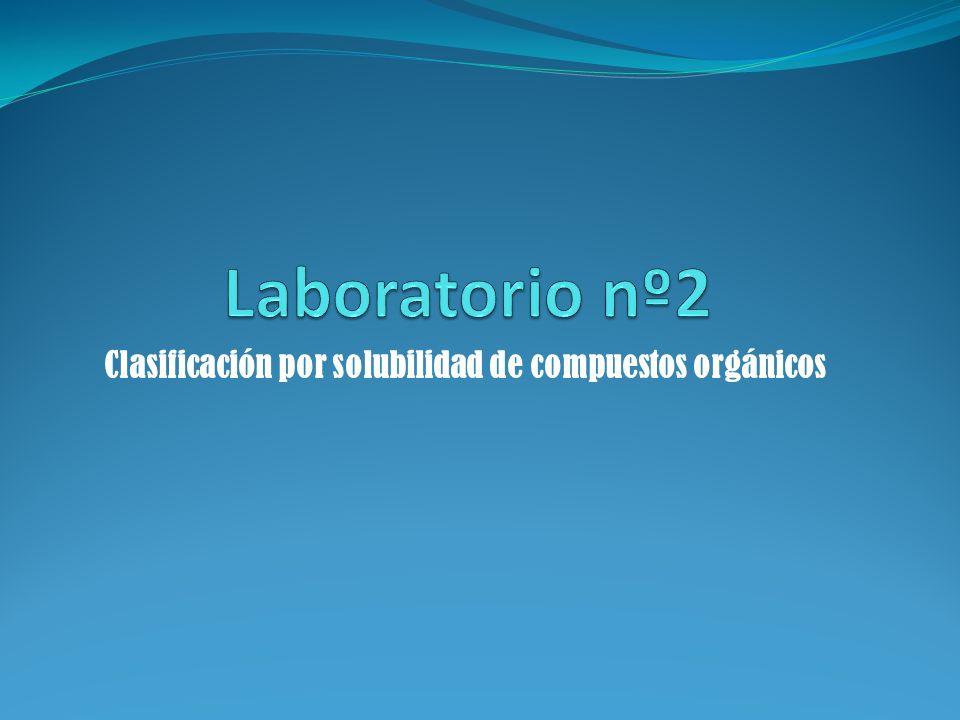 Clasificación por solubilidad de compuestos orgánicos