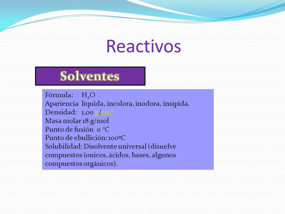 Reactivos Fórmula: H 2 O Apariencia líquida, incolora, inodora, insípida. Densidad: 1,00 g/cm 3gcm 3 Masa molar 18 g/mol Punto de fusión 0 °C Punto de