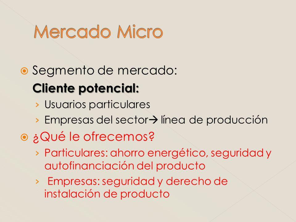 Segmento de mercado: Cliente potencial: Usuarios particulares Empresas del sector línea de producción ¿Qué le ofrecemos? Particulares: ahorro energéti