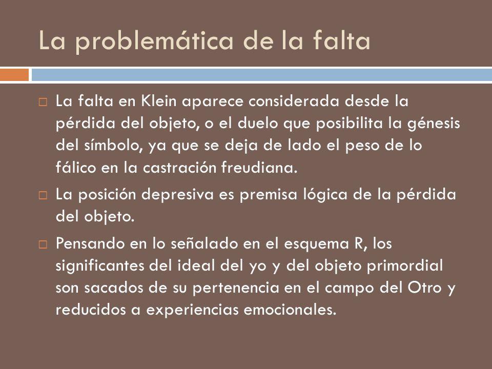 La problemática de la falta La falta en Klein aparece considerada desde la pérdida del objeto, o el duelo que posibilita la génesis del símbolo, ya qu
