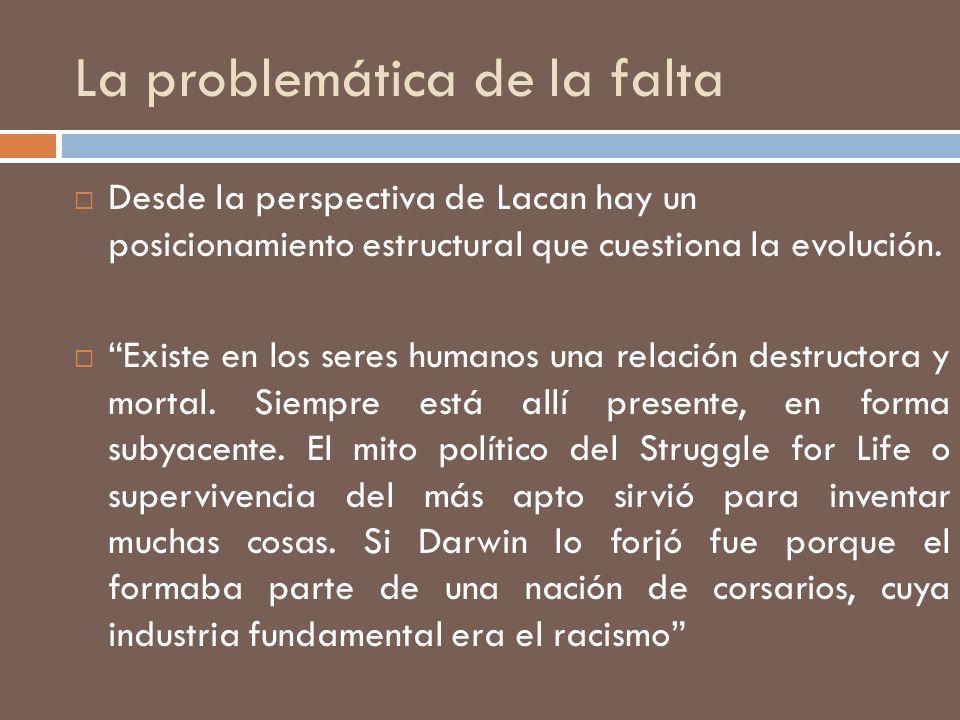 La problemática de la falta Desde la perspectiva de Lacan hay un posicionamiento estructural que cuestiona la evolución. Existe en los seres humanos u