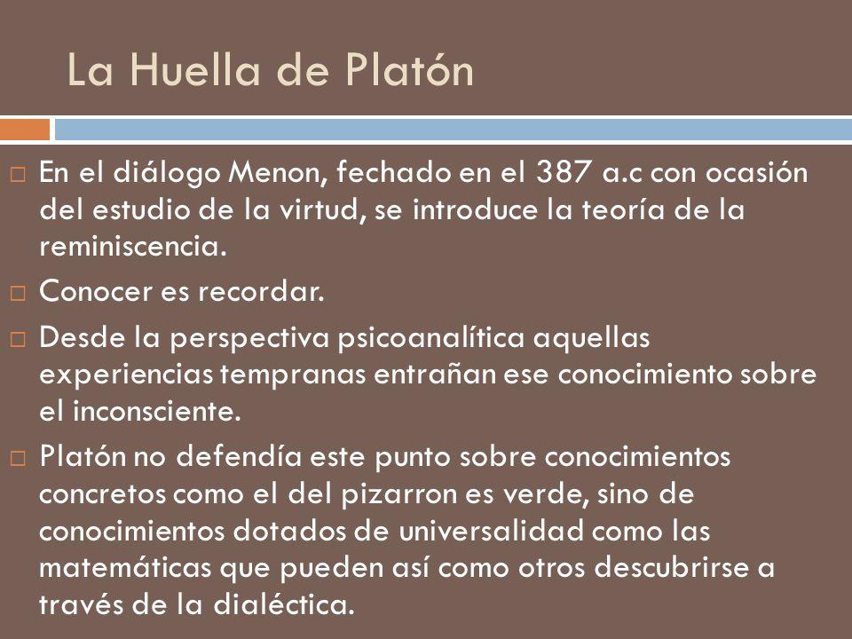 La Huella de Platón En el diálogo Menon, fechado en el 387 a.c con ocasión del estudio de la virtud, se introduce la teoría de la reminiscencia. Conoc