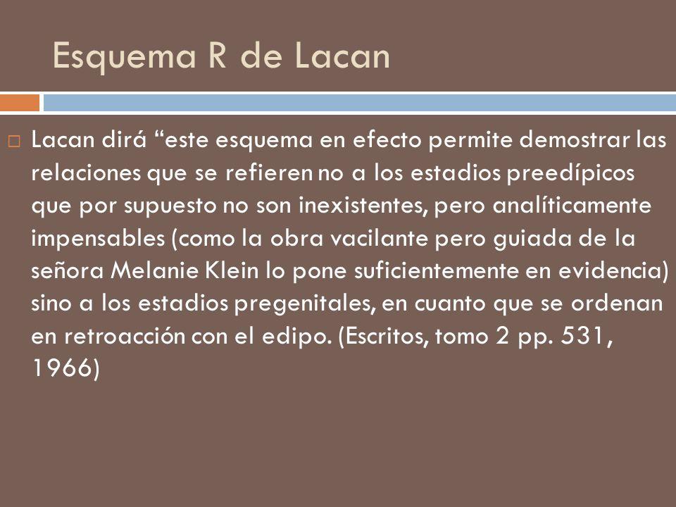 Esquema R de Lacan Lacan dirá este esquema en efecto permite demostrar las relaciones que se refieren no a los estadios preedípicos que por supuesto n