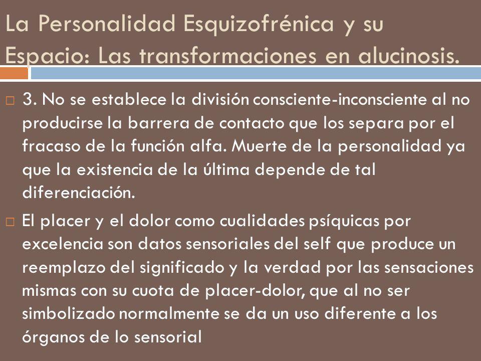 La Personalidad Esquizofrénica y su Espacio: Las transformaciones en alucinosis. 3. No se establece la división consciente-inconsciente al no producir